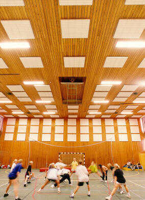 Sport acoustic absorbers mounted on walls and ceiling
